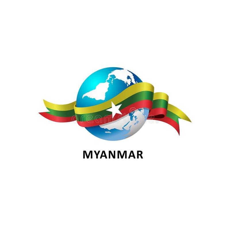Mundo con la bandera de myanmar stock de ilustración