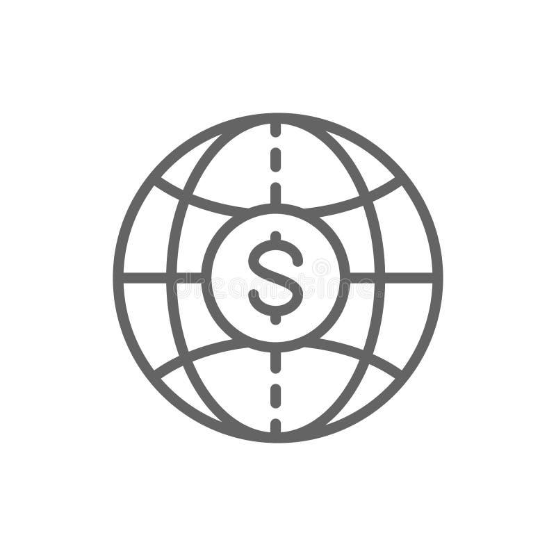 Mundo con la moneda, efectivo global, transferencias monetarias, l?nea icono de la moneda stock de ilustración