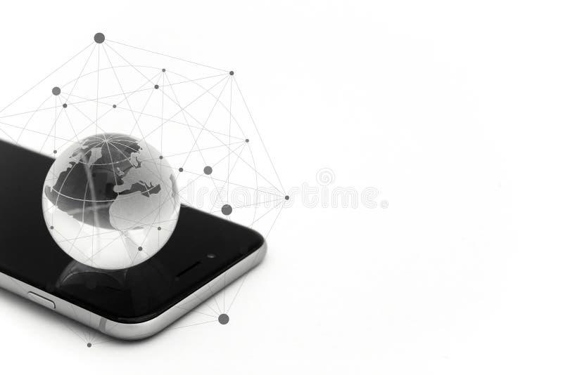 Mundo conectado Conceito social da rede imagem de stock
