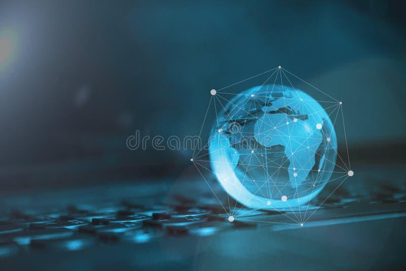 Mundo conectado Conceito social da rede fotografia de stock