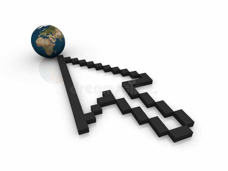 Mundo contra Internet ilustración del vector