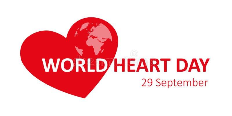 Mundo coração dia terra do 29 de setembro ilustração royalty free
