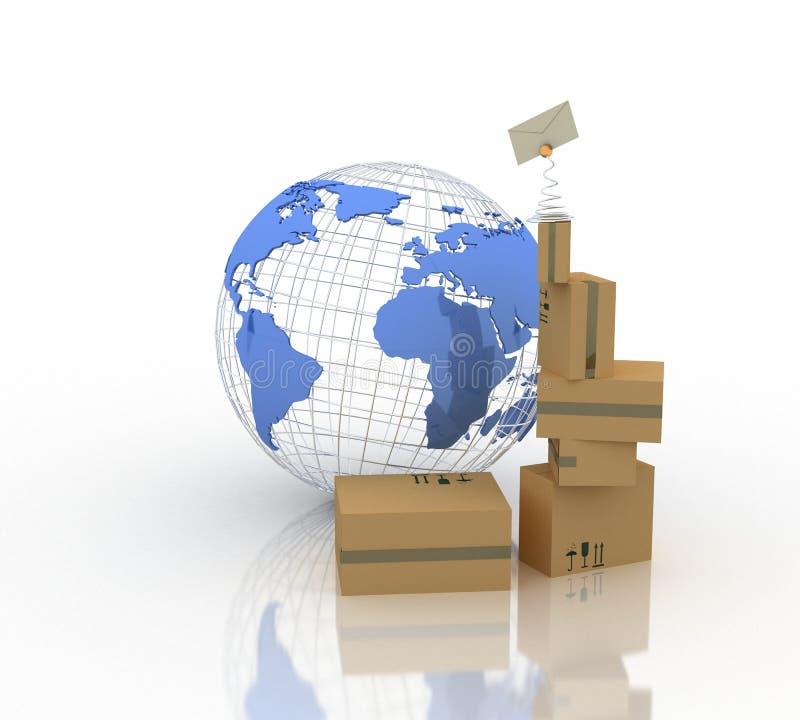 Mundo-correo ilustración del vector