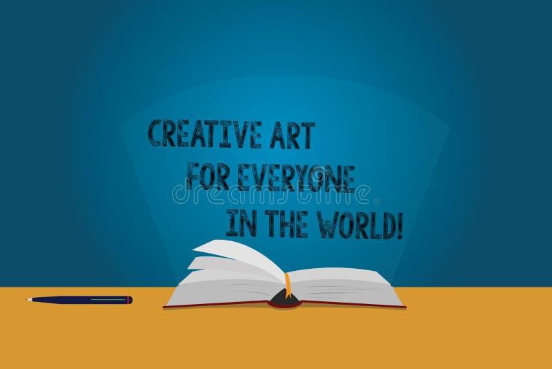 Mundo creativo de Art For Everyone In The del texto de la escritura El significado del concepto separó creatividad a otras colore ilustración del vector