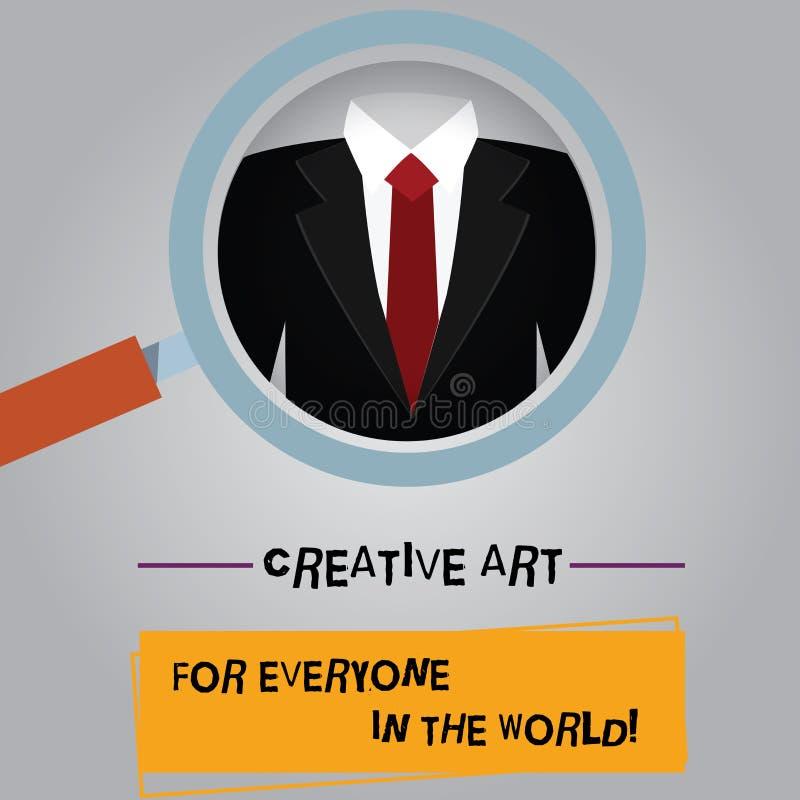 Mundo creativo de Art For Everyone In The del texto de la escritura El significado del concepto separó creatividad a otras lupa stock de ilustración