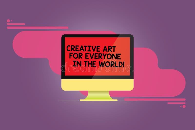Mundo creativo de Art For Everyone In The del texto de la escritura de la palabra Concepto del negocio para la creatividad separa stock de ilustración