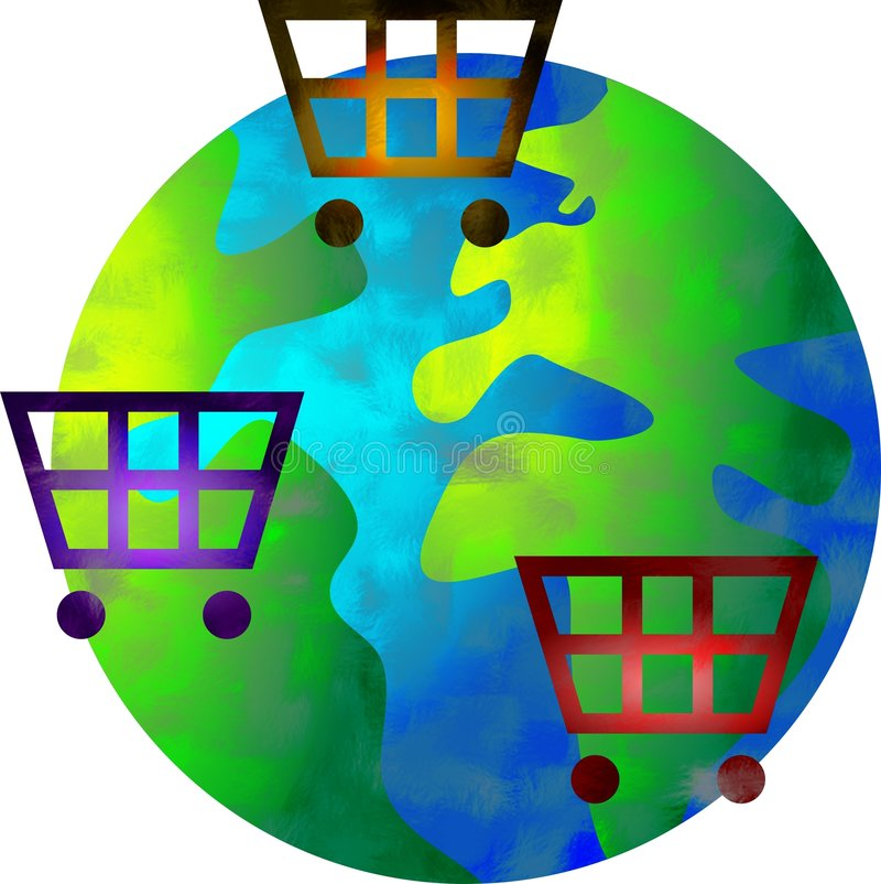 Mundo da compra ilustração stock