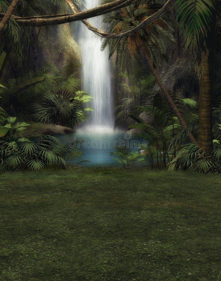 Mundo da fantasia da selva com cachoeira ilustração royalty free