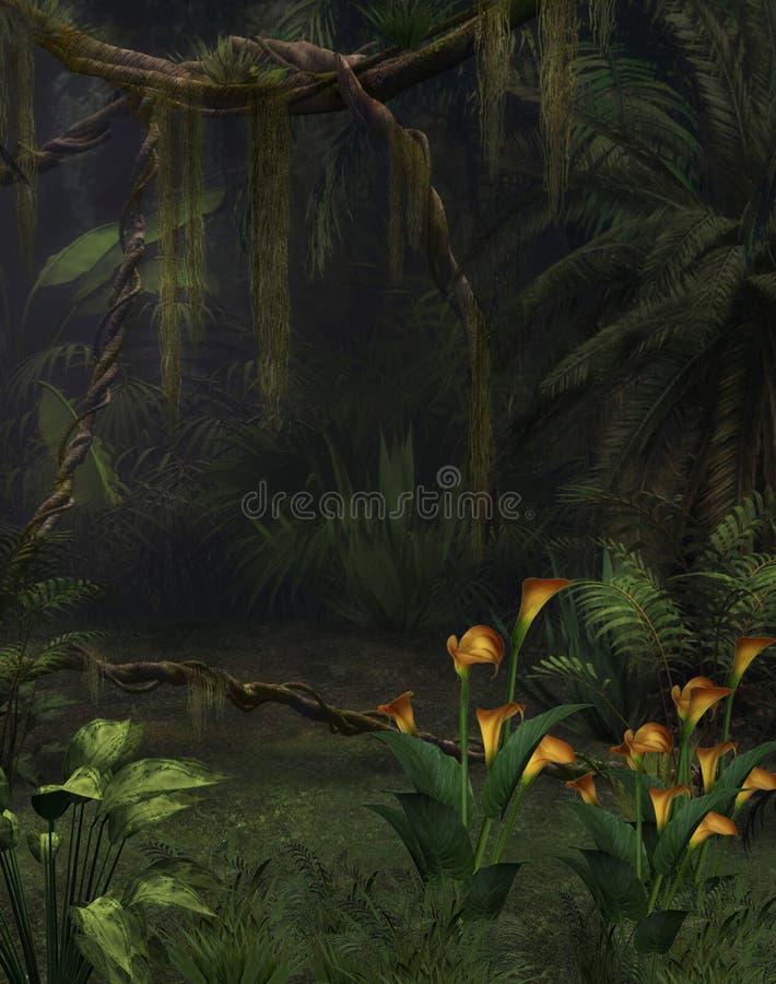 Mundo da fantasia da selva com lírios ilustração do vetor