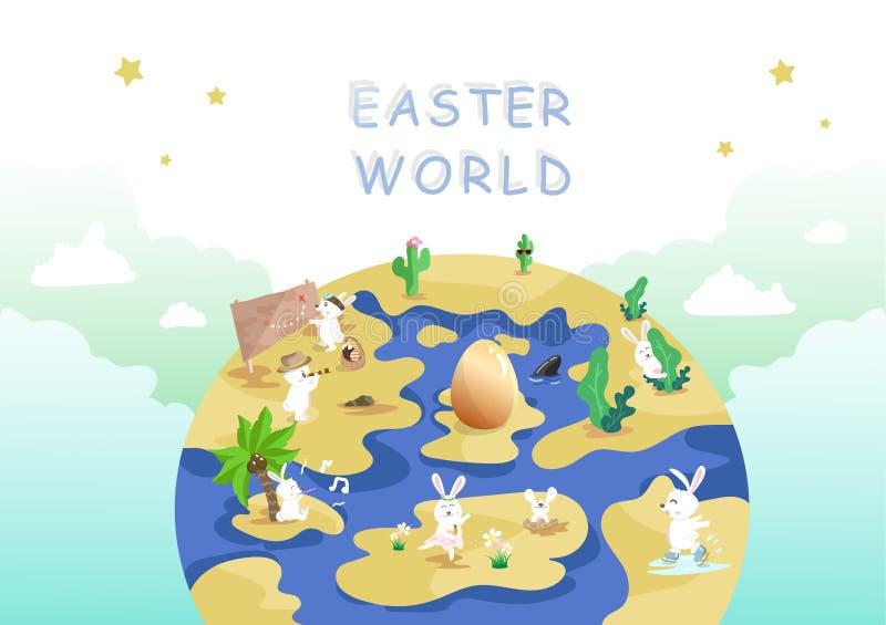 Mundo da Páscoa, caça do ovo, viagem e aventura, personagem de banda desenhada bonito do coelho, cumprimentando o vetor do fundo  ilustração royalty free
