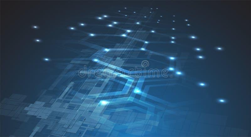 Mundo da tecnologia de Digitas Conceito virtual do negócio Backg do vetor ilustração royalty free