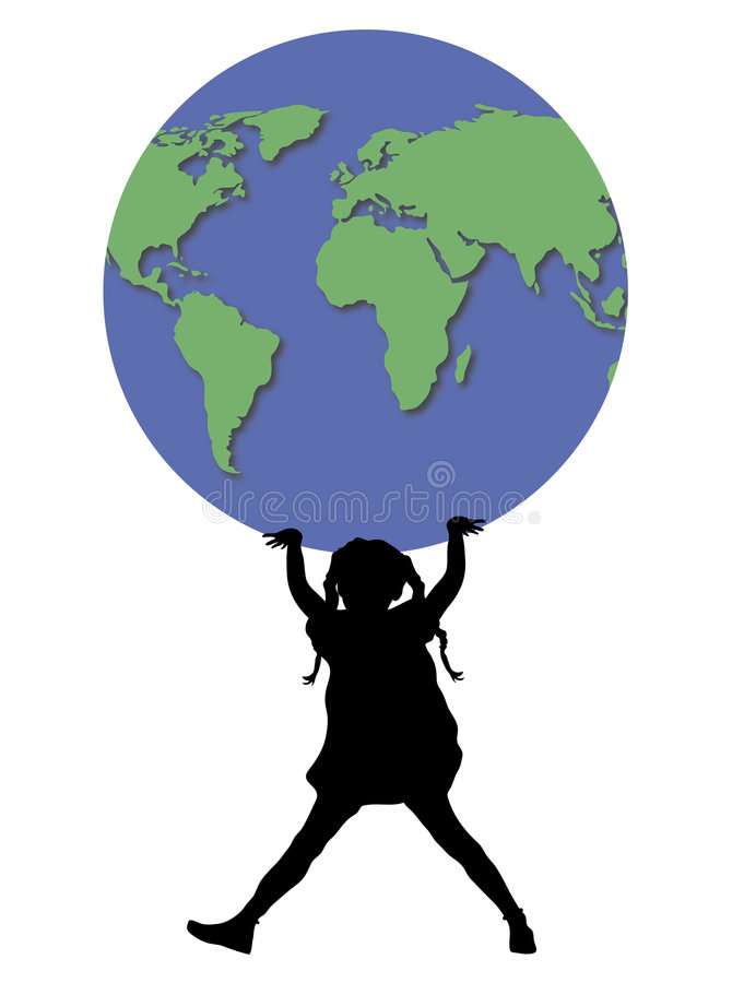 Mundo da terra arrendada da menina ilustração stock