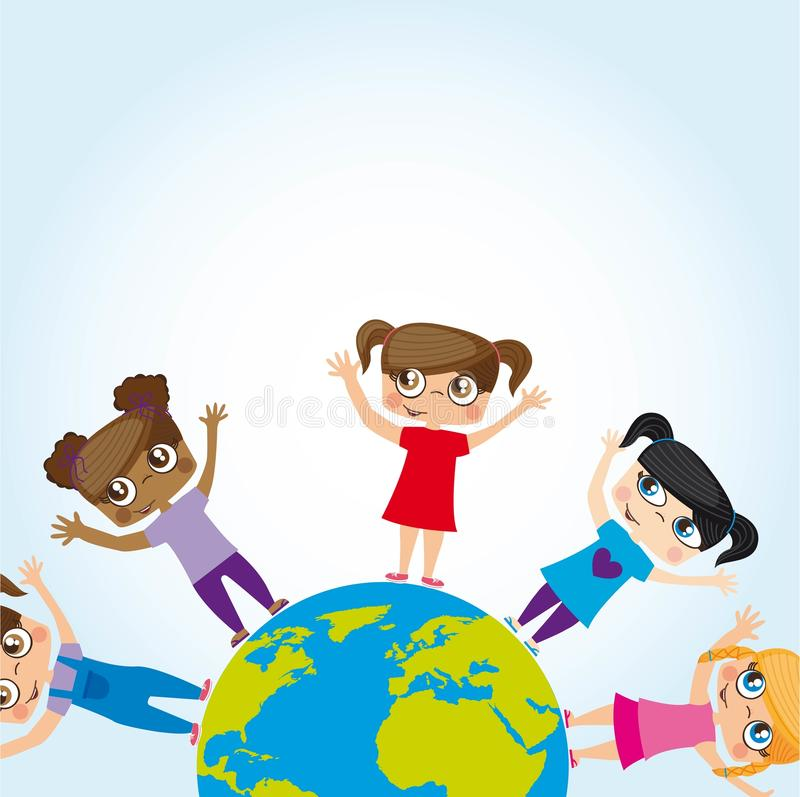 Mundo das meninas ilustração royalty free