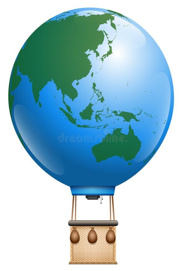 Mundo de Ásia Austrália do balão de ar quente ilustração stock