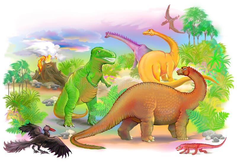Mundo de animais pré-históricos ilustração do vetor