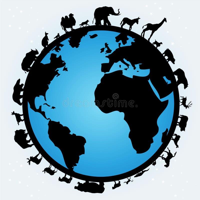 Mundo de animales ilustración del vector