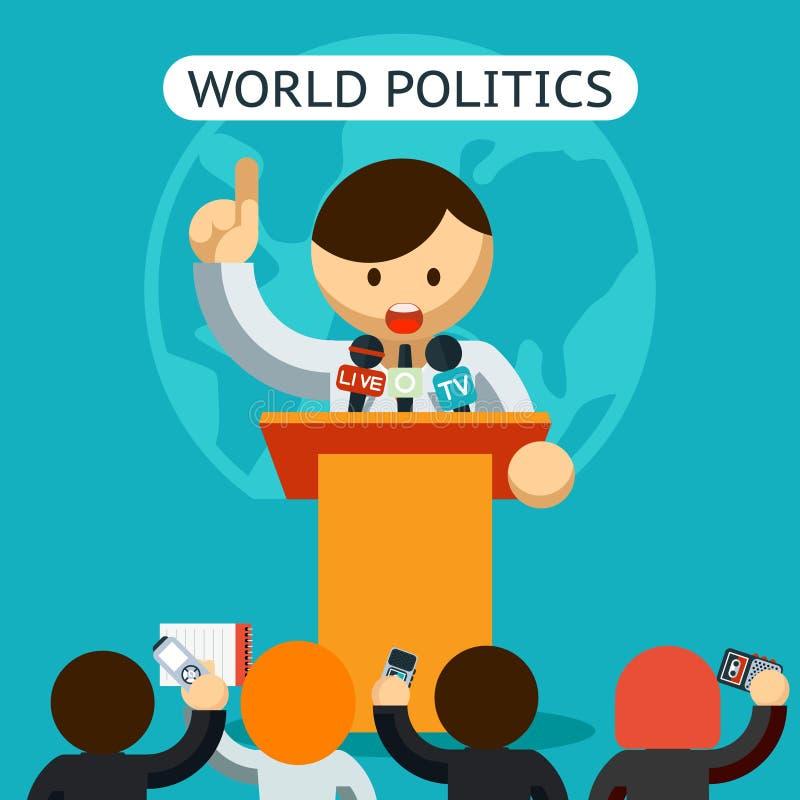 Mundo de Cartooned do conceito da política ilustração royalty free