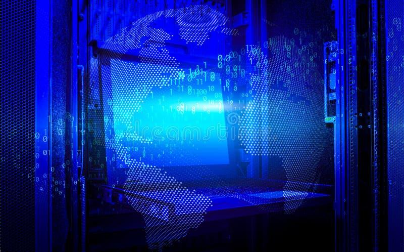 Mundo de Digitas e rendição moderna do código binário 3d da terra do conceito da tecnologia imagem de stock royalty free