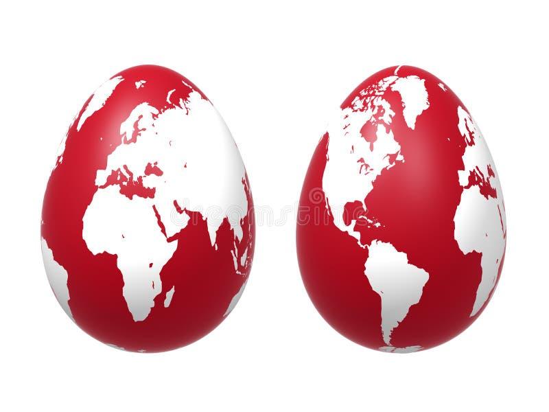 Mundo de dos huevos 3d en rojo ilustración del vector