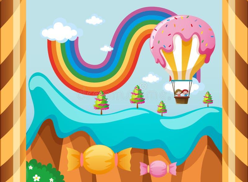 Mundo de fantasia com o balão dos doces sobre o arco-íris ilustração do vetor