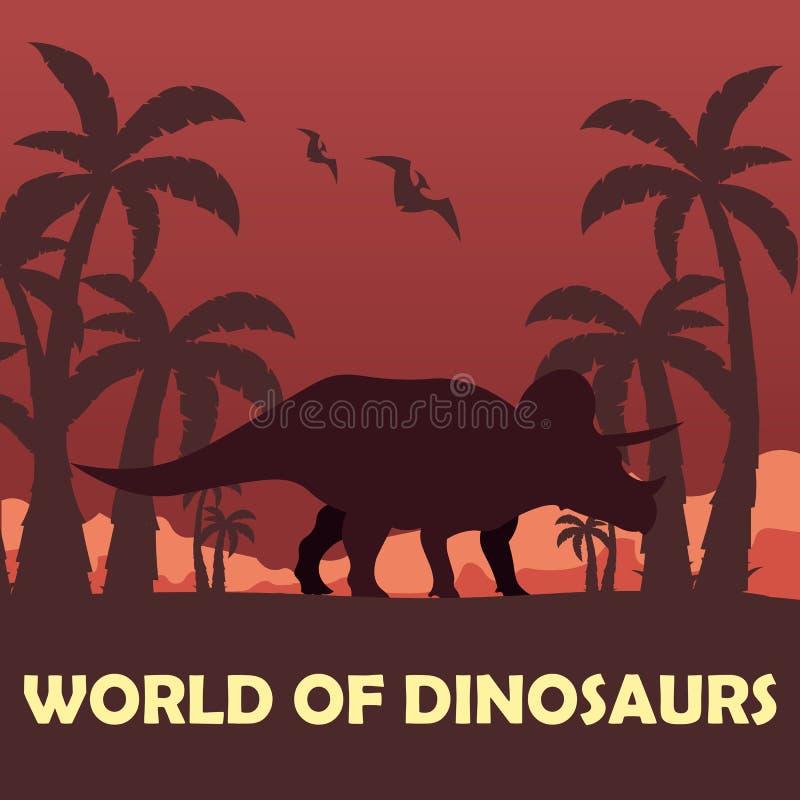 Mundo de la bandera de dinosaurios Mundo prehistórico triceratops Período cretáceo stock de ilustración