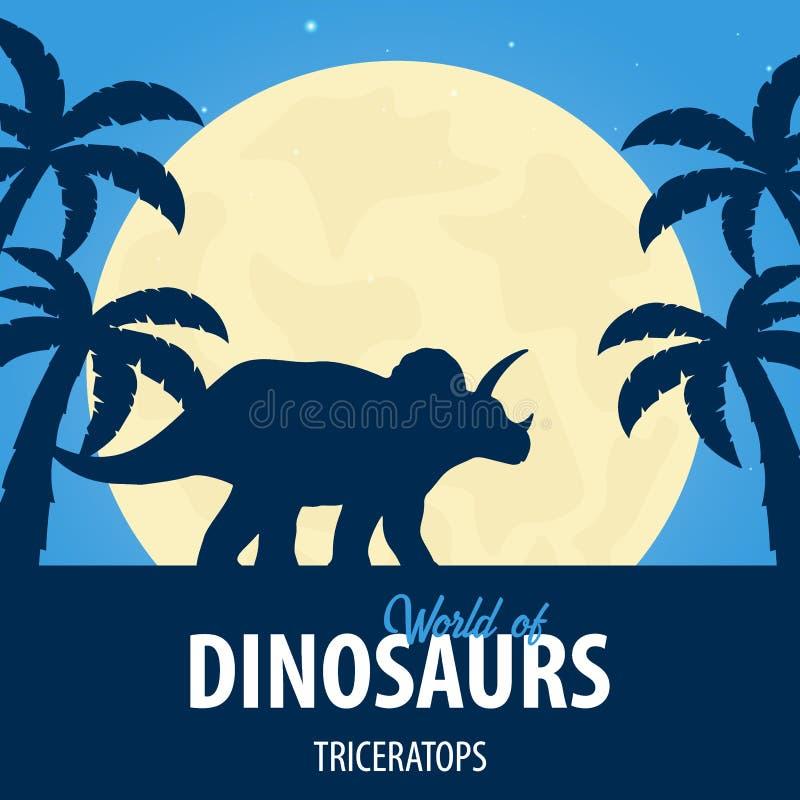 Mundo de la bandera de dinosaurios Mundo prehist?rico triceratops Per?odo cret?ceo libre illustration