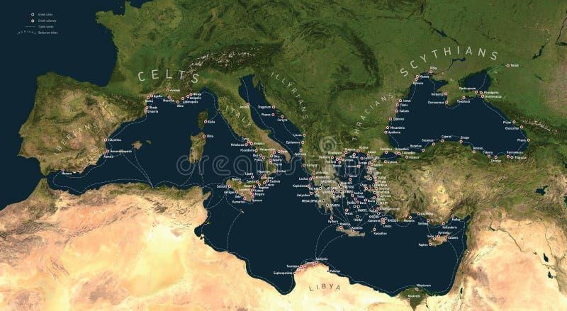 Mundo de la colonización del griego clásico ilustración del vector