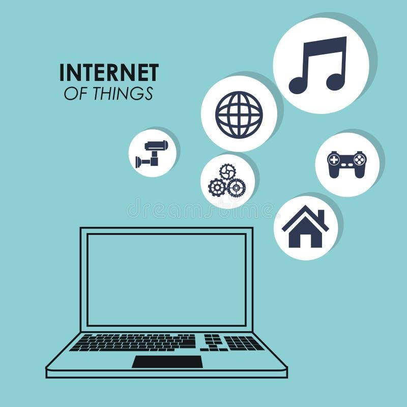 Mundo de la conexión del trabajo de la música del juego del ordenador portátil de las cosas de Internet libre illustration