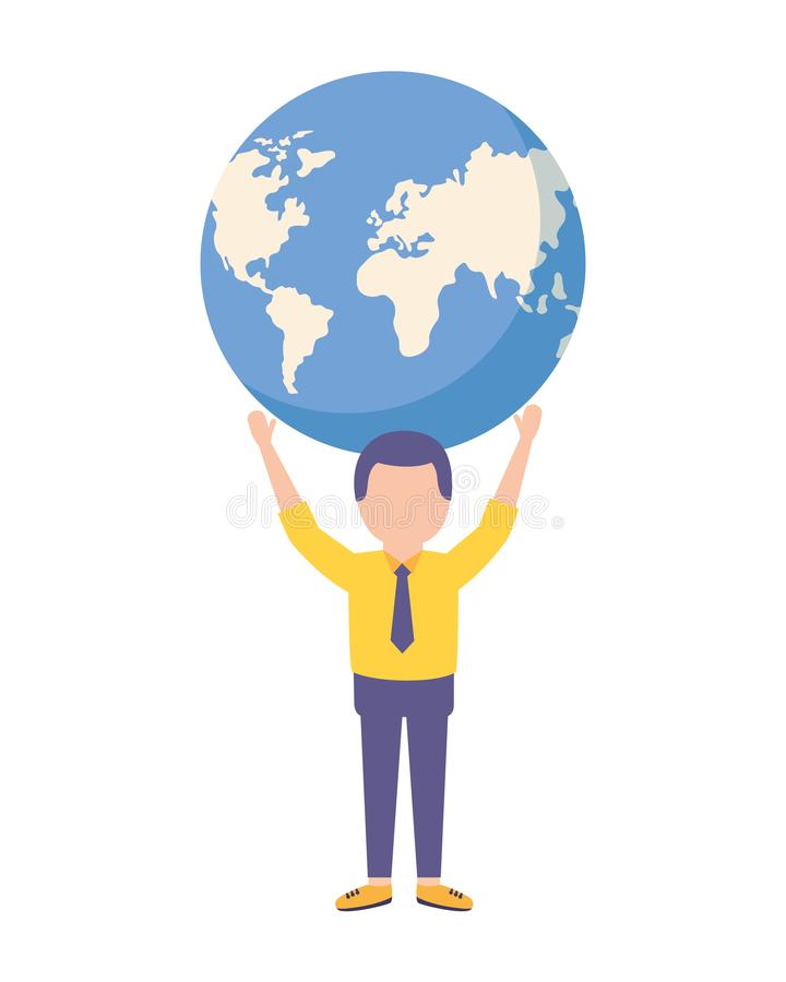 Mundo de la tenencia del hombre de negocios en las manos stock de ilustración