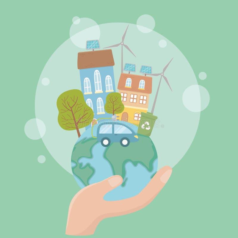 Mundo de la tenencia de la mano y pensar diseño verde libre illustration