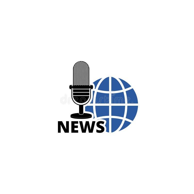 Mundo de las noticias - icono o logotipo simple, icono global del concepto de las noticias stock de ilustración