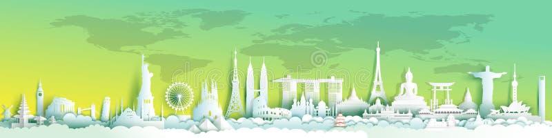 Mundo de las señales del monumento y viaje feliz stock de ilustración