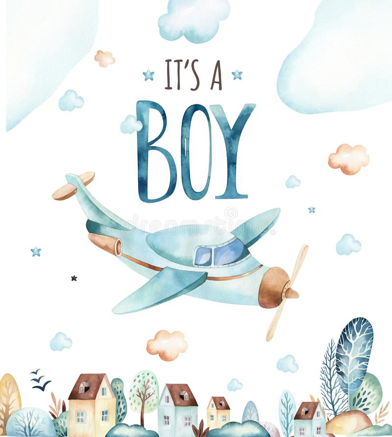 Mundo de los bebés Ejemplo locomotor de la acuarela del aeroplano y del carro de la historieta Sistema del cumpleaños del niño de ilustración del vector