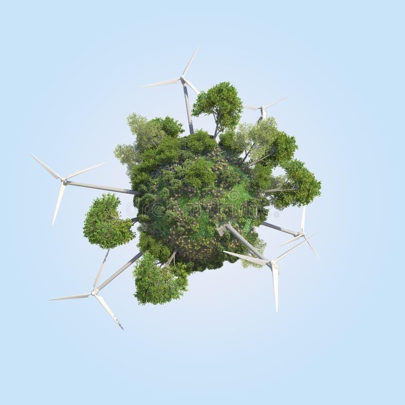 Mundo de Mini Green Windmill Energy imagem de stock royalty free