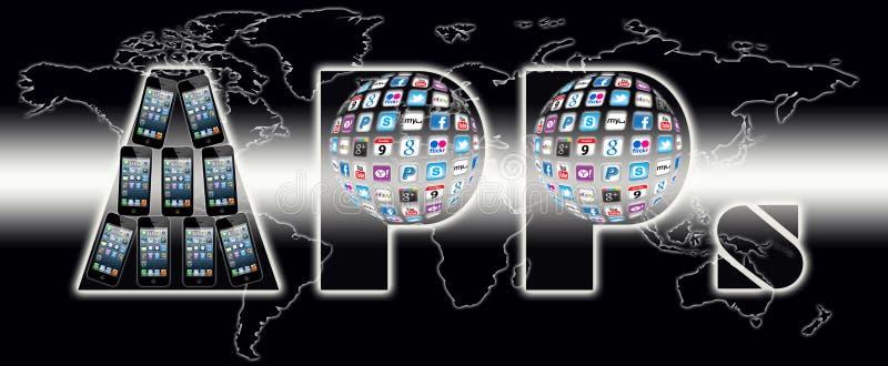 Mundo de uma comunicação de Apps ilustração royalty free