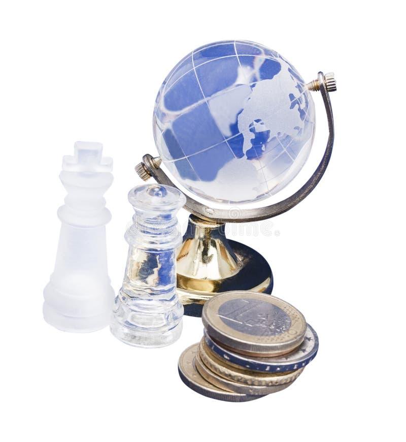 Mundo del ajedrez y del euro fotografía de archivo
