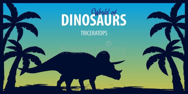 Mundo del cartel de dinosaurios Mundo prehistórico triceratops Período cretáceo stock de ilustración