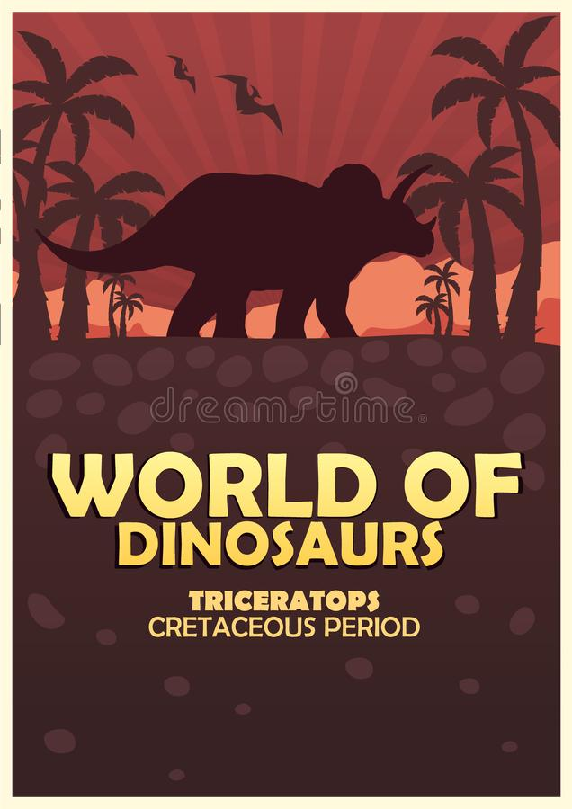 Mundo del cartel de dinosaurios Mundo prehist?rico triceratops Per?odo cret?ceo libre illustration