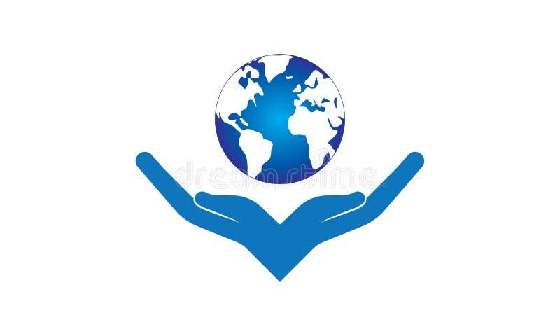 Mundo del control de las manos - manos que sostienen y que apoyan el mundo del mapa del globo libre illustration
