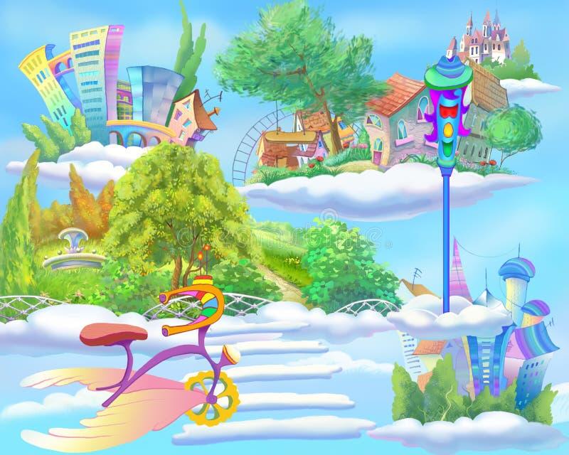 Mundo del cuento de hadas con las islas flotantes en el cielo ilustración del vector