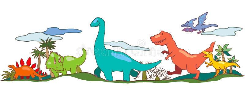 Mundo del dinosaurio en la imaginación de los niños stock de ilustración