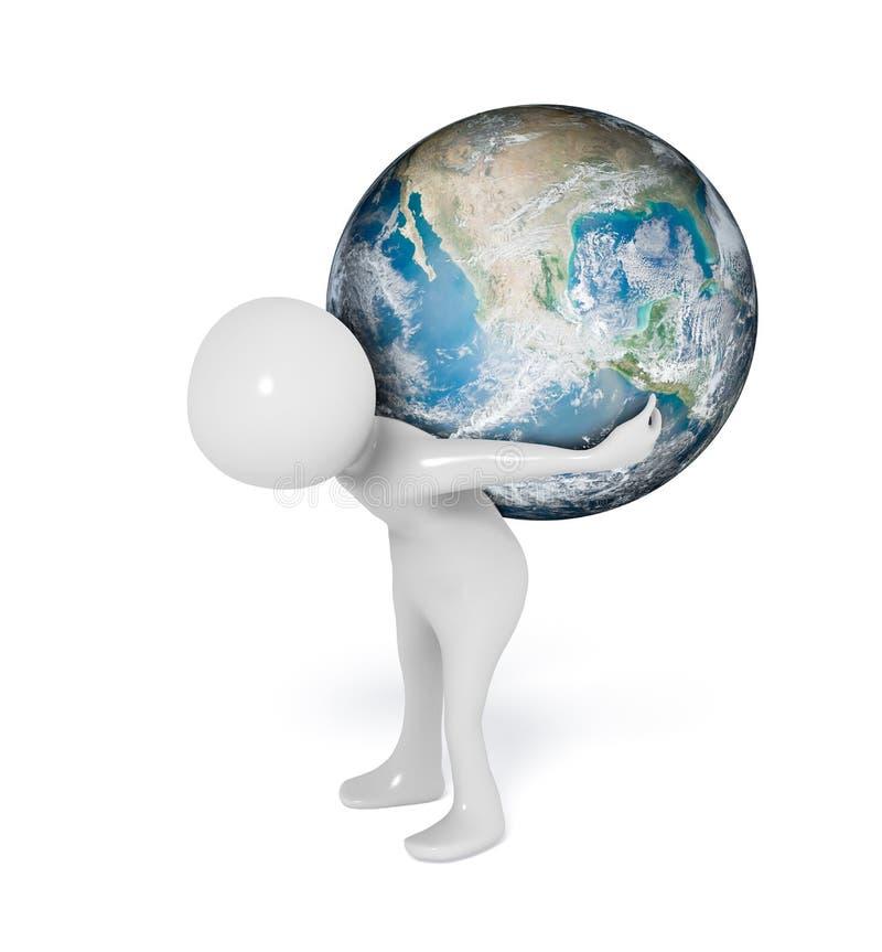 mundo del hombre 3D en hombros ilustración del vector