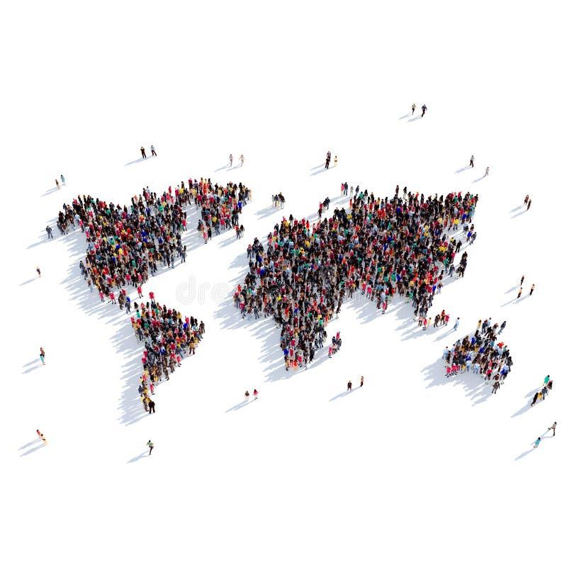 Mundo del mapa de la forma del grupo de la gente libre illustration