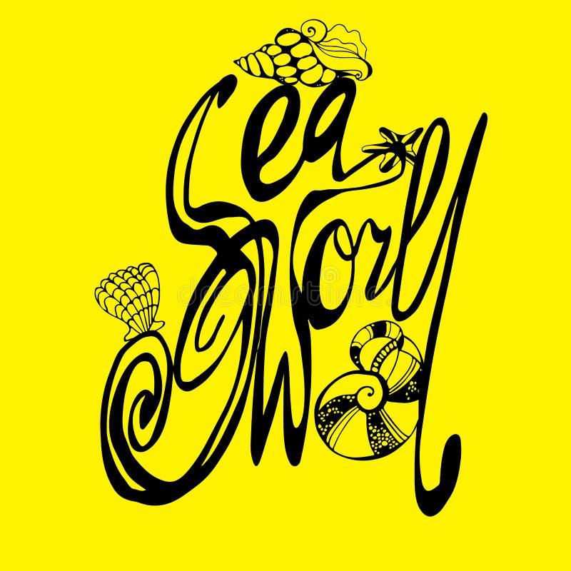 Mundo del mar ejemplo del mundo del mar cartel handdrawn w stock de ilustración