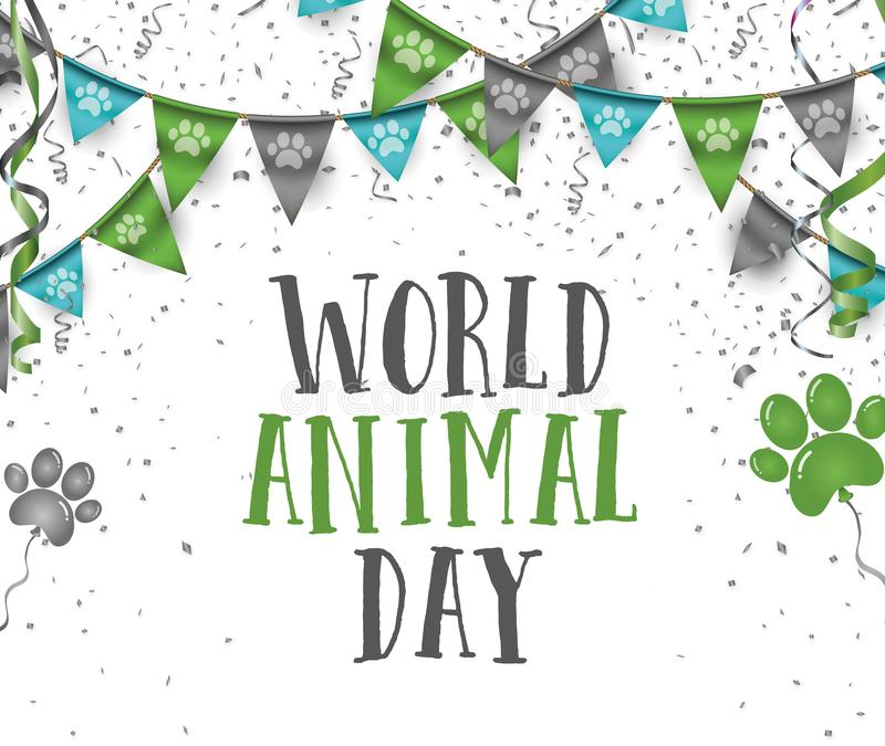 Mundo dia bandeiras animais do partido da estamenha do 4 de outubro com animal p do cão ilustração do vetor
