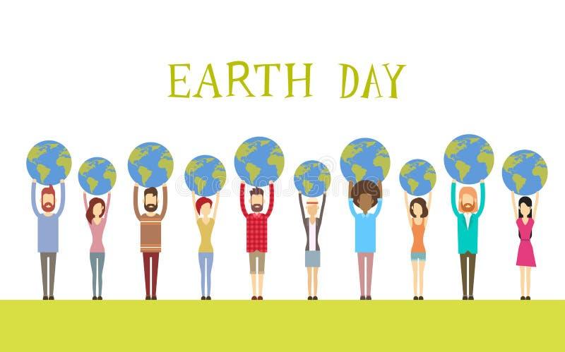 Mundo diverso del globo del control del grupo de la gente del Día de la Tierra ilustración del vector