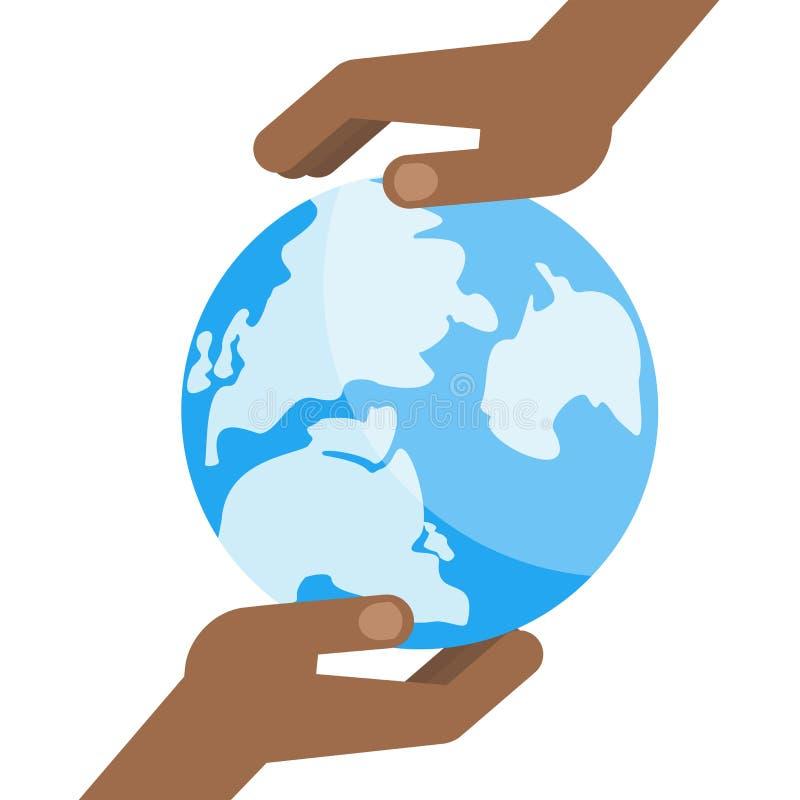 Mundo do azul da mão preta ilustração do vetor