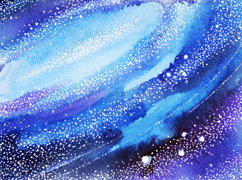 Mundo do céu azul, fundo da pintura da aquarela do universo ilustração royalty free
