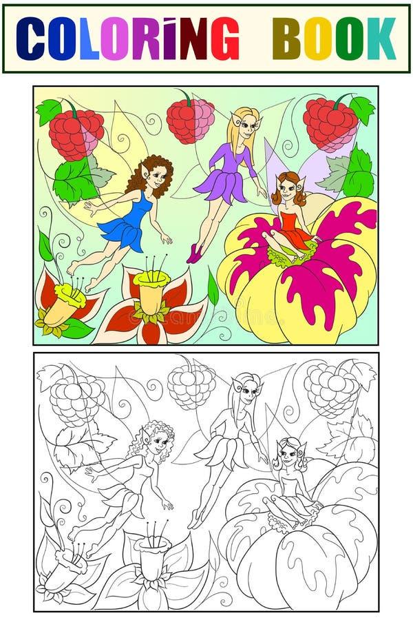 Mundo do conto de fadas do livro para colorir das fadas para a ilustração dos desenhos animados das crianças branco, preto e cor ilustração stock