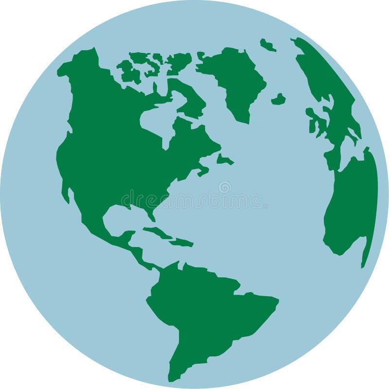 Mundo do globo com continentes americanos ilustração royalty free